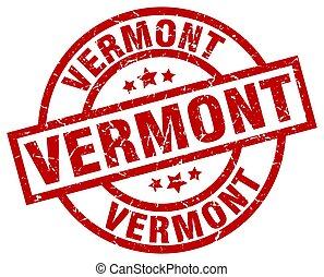 Vermont red round grunge stamp