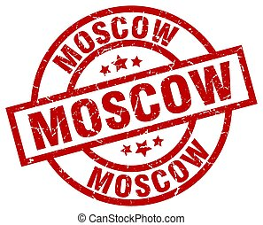Moscow red round grunge stamp