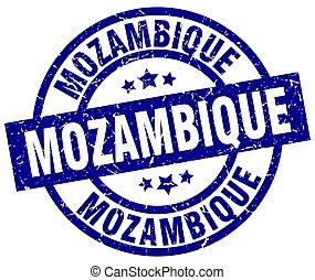 Mozambique blue round grunge stamp