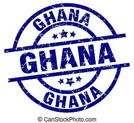 Ghana blue round grunge stamp