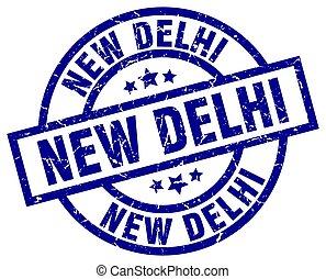 New Delhi blue round grunge stamp