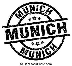 Munich black round grunge stamp