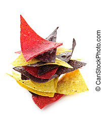 Tortilla chips - Stack of colorful tortilla chips isolated...