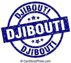 Djibouti blue round grunge stamp