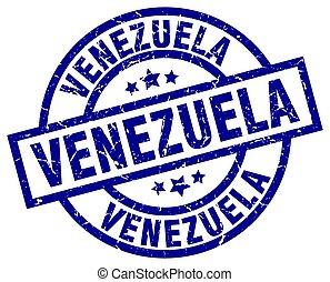Venezuela blue round grunge stamp