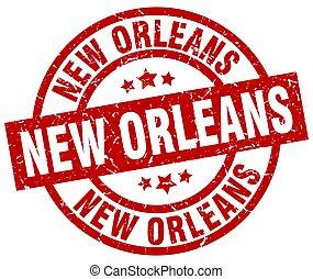New Orleans red round grunge stamp
