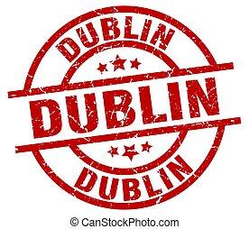 Dublin red round grunge stamp