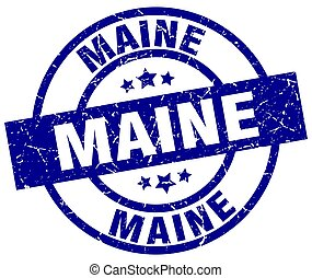 Maine blue round grunge stamp