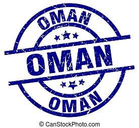 Oman blue round grunge stamp