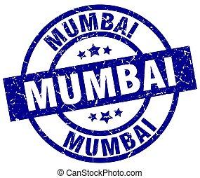 Mumbai blue round grunge stamp