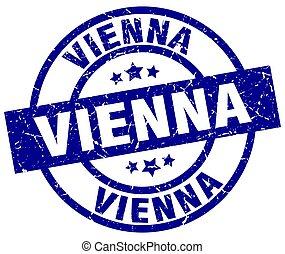 Vienna blue round grunge stamp