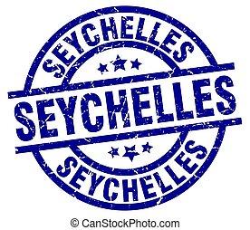 Seychelles blue round grunge stamp