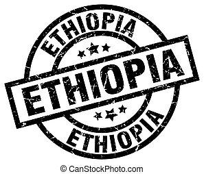 Ethiopia black round grunge stamp