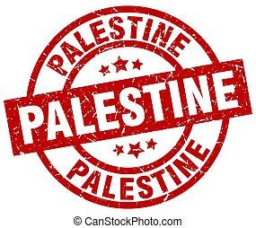 Palestine red round grunge stamp