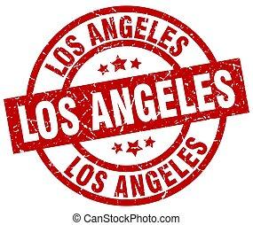 Los Angeles red round grunge stamp