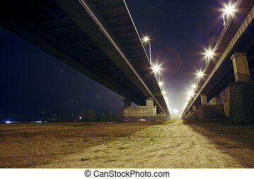 night scene under the bridge
