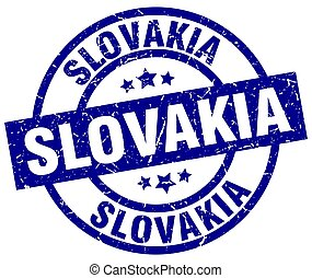 Slovakia blue round grunge stamp