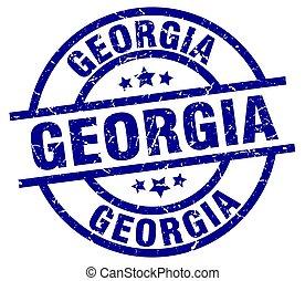 Georgia blue round grunge stamp