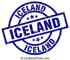 Iceland blue round grunge stamp