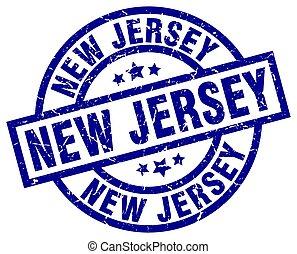 New Jersey blue round grunge stamp