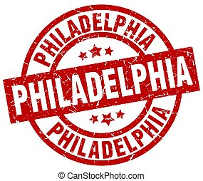 Philadelphia red round grunge stamp