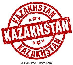 Kazakhstan red round grunge stamp