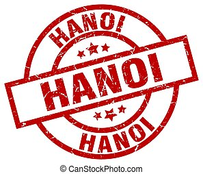 Hanoi red round grunge stamp