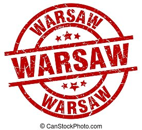 Warsaw red round grunge stamp