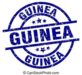 Guinea blue round grunge stamp