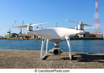 Drone before the flight on concrete blocks - Drone stay on...