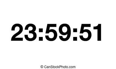 Countdown of 24 hours. Digital clock - black numbers on...