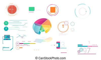 Colorful Corporate Infographic Elements With Alpha Channel