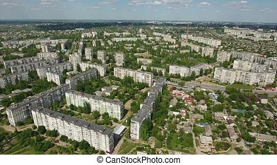 Aerial shot of Kherson with its green parks and splendid multistoreyed houses