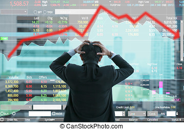Businessman grabs the head concept with business chart on...