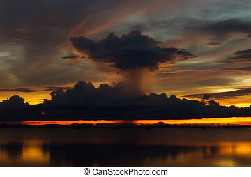 Beautiful lake after sunset with clouds. - Beautiful dark...