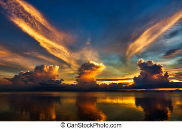 Beautiful lake after sunset with clouds. - Beautiful smooth...