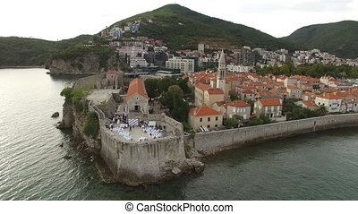 The Old Town of Budva, aerial shooting with drone - The Old...