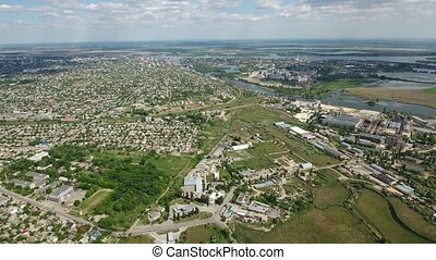 Aerial shot of Kherson city with its picturesque cityscape in a sunny day