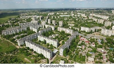 Aerial shot of Kherson with its green parks and beautiful multistoreyed houses