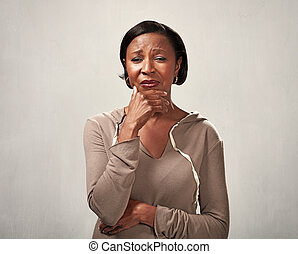 Sad crying black woman - Unhappy crying african american...