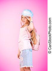 modern pre-teen girl - Children's fashion. Cute eight year...