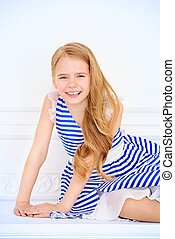 happy lively daughter - Cute little girl in a beautiful...