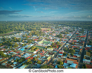 Landscape of small town in Latin America aerial drone view