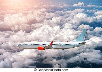 飛行機, 飛行, 雲, 日光, の上