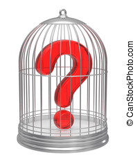 Question sign in a cage