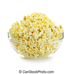 Bowl of popcorn - Bowl of fresh popped popcorn isolated on...