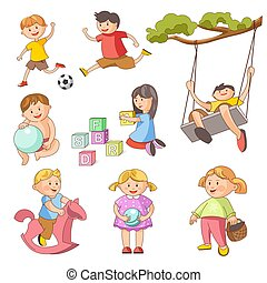 Children little boys girls playing outdoor games vector flat icons set