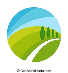 Cartoon flat landscape in circle isolated illustration