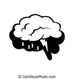 Logotype of brain silhouette and rain cloud inside -...