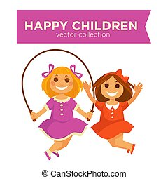 Happy children girls jumping jump rope playing outdoor games vector icons